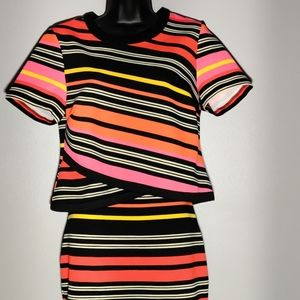 Striped Coordinated Skirt Set